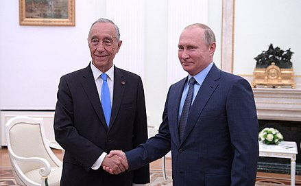 Marcelo Rebelo de Sousa, President of Portugal, with Vladimir Putin, President of Russia, in the Kremlin in Moscow, 20 June 2018. President of Portugal Marcelo Rebelo de Sousa & President of Russia Vladimir Putin in the Kremlin in Moscow, 20 June 2018. (01).jpg