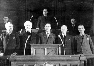 Mihail Sadoveanu - The collective Romanian Presidency in 1948. From left: Ștefan Voitec, Sadoveanu, Gheorghe Stere, Constantin Ion Parhon, Ion Niculi