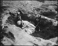Private First Class Rez P. Hester, 7th War Dog Platoon, 25th Regiment, takes a nap while Butch, his war dog, stands... - NARA - 532542.tif
