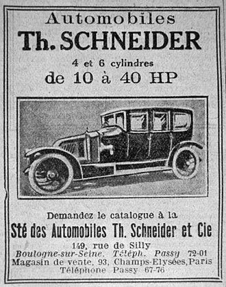 Th. Schneider - Th. Schneider publicity, published in Le pays de France, 1st year, nbr 3, page 4, 10 July 1914.