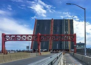 Pulaski Bridge - The bascule draw span open