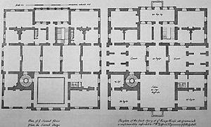 Architectural drawing - Principal floor plans of the Queen's House, Greenwich (UK).