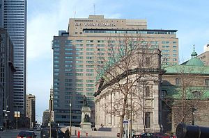 René Lévesque Boulevard - Queen Elizabeth Hotel and Mary, Queen of the World Cathedral, looking east.