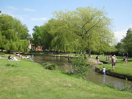 Queen Elizabeth Gardens showing part of the River Avon diverted through the gardens. Queen Elizabeth Gardens 2011.jpg