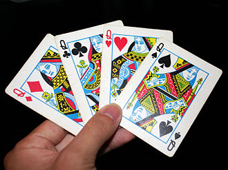 Queen (playing card) - Queen cards of all four suits in the Rouennais pattern