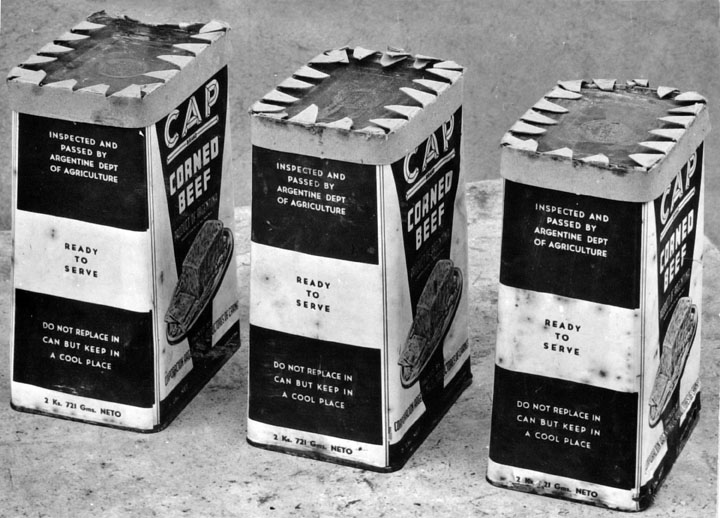 Queensland State Archives 2739 Canned meat from Argentine photographed for the Federal Commerce Department c 1946
