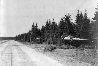 Reichsautobahn - German Ju 88 warplanes concealed along the autobahn in 1945
