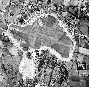 RAF Watton - 25 January 1944 aerial photograph of the RAF Watton airfield and the USAAF 3d Strategic Air Depot. The bomb dump to the right of the perimeter track; the 3d SAD is at the bottom (south) of the image.