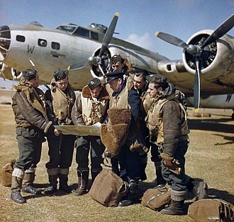 RAF Coastal Command - RAF Coastal Command crew holding a final conference before taking off in their Boeing Fortress, from Lajes Field on Terceira Island in the Azores, 1943
