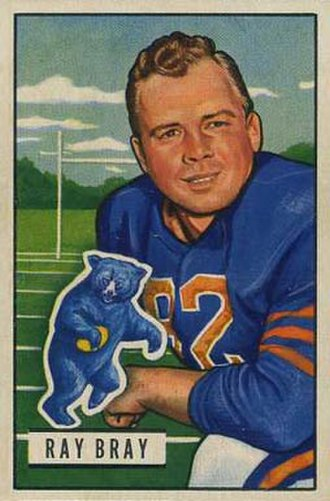 Ray Bray - Bray on a 1951 Bowman football card