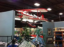 One of the famous Red Baron Pizza aerobatic team's Stearmans on display.