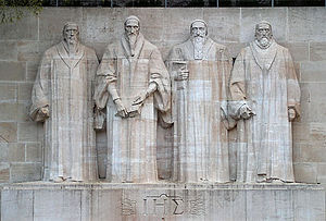William Farel - The Reformation Wall in Geneva. From left: Farel, John Calvin, Theodore Beza, and John Knox