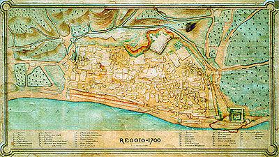 Mappa di Reggio nel XVIII secolo.