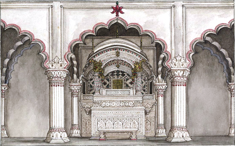 File:Reminiscences of Imperial Delhi The imperial jharoka in the Diwan-i 'Am.png