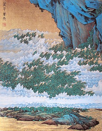 Wuyue culture - No. 4 of Hundred Thousand Scenes by Ren Xiong, a pioneer of the Shanghai School of Chinese art; ca. 1850.