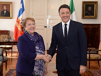 Chile–Italy relations - Chilean President Michelle Bachelet with Italian Prime Minister Matteo Renzi; 2015