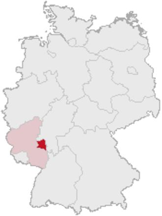 Rhenish Hesse - Rhenish Hesse (dark red), shown within Rhineland-Palatinate (pale red)