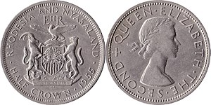 Rhodesia and Nyasaland pound - Image: Rhodesia and nyasaland d 30 1955