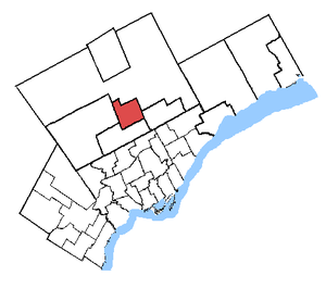 Richmond Hill (electoral district) - Richmond Hill in relation to other Greater Toronto ridings