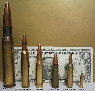 .50 BMG - From left: .50 BMG, 300 Win Mag, .308 Winchester, 7.62×39mm, 5.56×45mm NATO, .22 Long Rifle