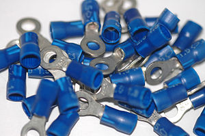 Electrical connector - Ring style wire end blade connectors are normally sold in lots.
