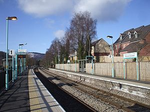Risca and Pontymister railway station - Image: Risca and Pontymister railway station in 2009