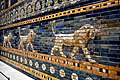 Roaring lions and flower motifs, decorative glazed wall panel from the Throne Room of Nebuchadnezzar II from Babylon, Iraq. 6th century BCE. Pergamon Museum.jpg