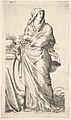 Robed woman standing next to a plinth, her right hand bears a palm branch, a harp rests against the plinth MET DP823170.jpg