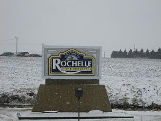 Rochelle, Illinois - Sign seen entering the city of Rochelle