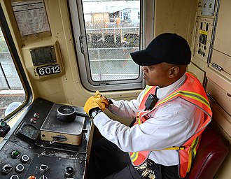 R46 (New York City Subway car) - Inside the driving cab of an R46 on the IND Rockaway Line