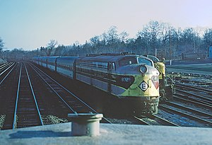 Main Line (NJ Transit) - Trains at the Erie Lackawanna rail yard in Waldwick on April 25, 1970