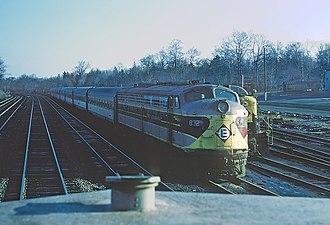 Main Line (NJ Transit) - Trains at the Erie Lackawanna rail yard in Waldwick on April 25, 1970