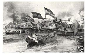 Anglo-French blockade of the Río de la Plata - French and British ships breaking the chains in Obligado.