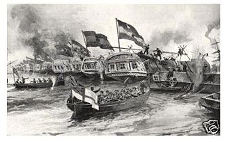 Battle of Vuelta de Obligado - British and French boats assaulting the chain line at Obligado