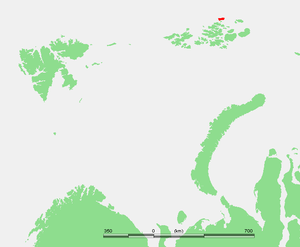 Umberto Cagni - Rudolf Island, shown in red, used as a base for Cagni's expedition