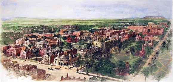 Richard Rummell's 1906 watercolor of the Yale campus, facing north Rummell, Richard Yale University cropped.jpg