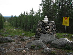 Øvre Pasvik National Park - Treriksrøysa, the tripoint cairn located at the intersection of the Finland–Norway–Russia border, is located at the national park border at Muotkavaara.