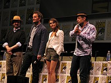 Cast and crew of Dawn of the Planet of the Apes: director Matt Reeves and actors Jason Clarke, Keri Russell, and Andy Serkis