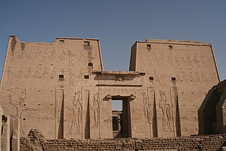 Edfu - The first pylon at Edfu Temple.