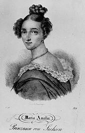 Prinzessin Amalie von Sachsen. Lithografie von Friedrich August Zimmermann (Quelle: Wikimedia)
