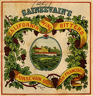Pierre Sainsevain - Trademark image for Sainsevain's Native California Wine Bitters (in the collection of the California State Archives)