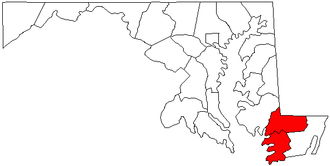 Salisbury metropolitan area - Map of Maryland highlighting the Salisbury Metropolitan Statistical Area before Worcester and Sussex counties were added.