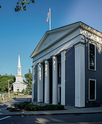 Sandwich, Massachusetts - Sandwich Town Hall (1834) and Congregational Church (1848)