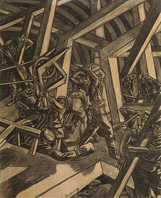 David Bomberg - Sappers at Work: A Canadian Tunnelling Company, Hill 60, St Eloi by David Bomberg, which bears a reference to 1st Canadian Tunnelling Company.