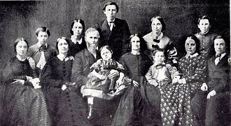 Daniel Lindley - The Lindley family (from L to R): Sarah Adams, James Bryant, Mary Elizabeth, Lucy Virginia, Rev. Daniel Lindley, Clara Louise (in arms), Newton Adams (standing), Mrs. Lucy (Allen) Lindley, Martha Jane, Charles Lutellus (boy), Charlotte Hannah, John and Daniel Allen. In Rochester, New York about 1861.