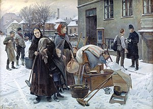 Eviction - Erik Henningsen's painting Eviction held by the National Gallery of Denmark.1892