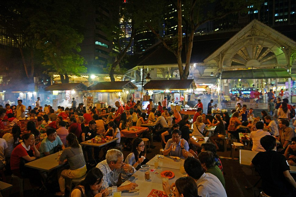 Satay stalls along Boon Tat Street next to Telok Ayer Market, better known as Lau Pa Sat