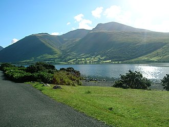 Northern England - Scafell Pike, England's highest peak, alongside Wastwater, its deepest lake