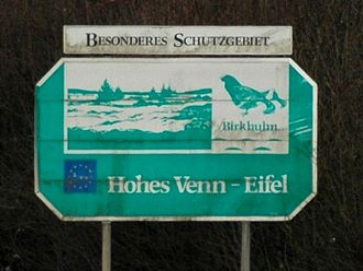High Fens – Eifel Nature Park - German sign in Belgium