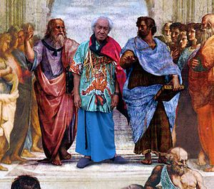 Futa Helu - A collage of Futa Helu in The School of Athens made for his 70th birthday. Futa is here portrayed with Plato and Aristotle.